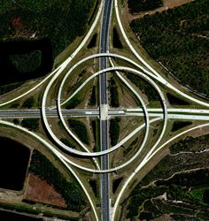 A view of two swirling highways in Jacksonville, Florida. Reprinted with permission from Overview by Benjamin Grant, copyright (c) 2016. Published by Amphoto Books, a division of Penguin Random House, Inc.   Images (c) 2016 by DigitalGlobe, Inc.