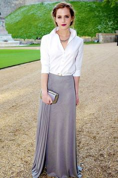 Emma Watson arrives for a dinner to celebrate the work of The Royal Marsden hosted by the Duke of Cambridge at Windsor Castle on May 13, 2014 in Windsor, England. So classy, so gorgeous.