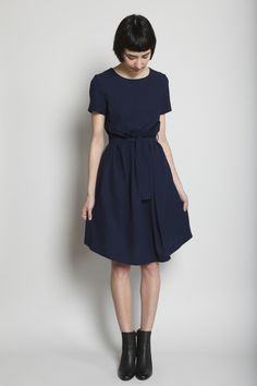Jil Sander -- Luster Woven Dress, in navy ...viscose/wool gabardine