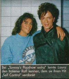 """Laura Branigan 1984, and Italian singer Raf, the man behind """"Self Control"""". """"Tommy's Popshow"""""""