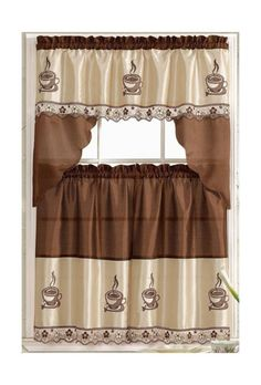 Coffee Barista Complete Embroidered Kitchen Curtain Tier And Swag Set NEW Coffee Theme Kitchen, Kitchen Decor Themes, Home Decor, Kitchen Ideas, Kitchen Stuff, Country Kitchen Designs, Küchen Design, Interior Design Kitchen, Diy Interior