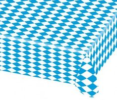 """The Bavarian check plastic table cover is the perfect item for any festive or Oktoberfest party! This table cover is made of a 1.5 mil thick poly vinyl and is printed in the traditional Bavarian flag colors. The blue and white diamond pattern compliments our other Oktoberfest decorations and it is a must-have for your German fest.   Covers 10 banquet or German Oktoberfest beer garden tables.  Product Details      * 40"""" inches x 100' ft, 1.5 mil thick poly vinyl     * Covers 10 - 8 ft…"""