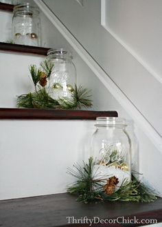 Decorate with Mason Jars!  Can use these on Stairs, Table, Shelves, Counters.  Mason Jar, Fake Snow, Christmas Ball Ornaments and some greenery.