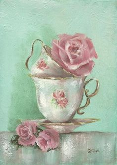 Two cup rose soft green and pink Painting on textured background , prints and greeting cards chris-hobel.artis...