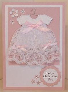37 Trendy Baby Cards Christening Paper Crafts - List of the most beautiful baby products Baby Girl Cards, New Baby Cards, Baby Scrapbook, Scrapbook Cards, Baptism Cards, Karten Diy, Baby Shower Invitaciones, Dress Card, Baby Christening