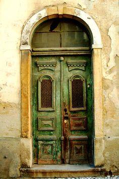 Teun's Tuinposters - Groene houten deur