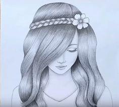 Image Of Beautiful Girl Drawing Pencil Drawing Inspiration, Pencil Drawing Images, Easy Pencil Drawings, Pencil Drawings For Beginners, Pencil Sketch Drawing, Girl Drawing Sketches, Dark Art Drawings, Girly Drawings, Art Drawings Sketches Simple