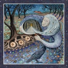 Samhain. 31st Oct Wise Old Crone Woman leads us into the dark days of winter. She knows that all must travel Her path to reach the rebirth of spring. A time to remember all those who have gone before.