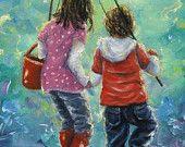 Fishing With Sister Art Print, kids fishing, two sisters fishing paintings, kids decor, wall art, boy, girl, Vickie Wade Art