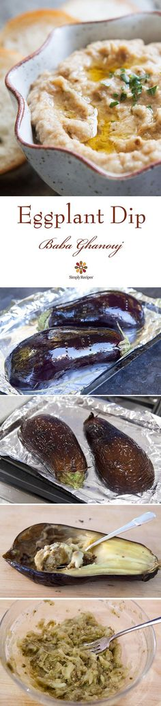 Eggplant Dip (Baba Ghanouj) ~ Classic Mediterranean baba ghanouj eggplant dip. Baked eggplant pureed with tahini, garlic, and olive oil. ~ SimplyRecipes.com