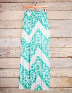 Lace Print Chevron Pattern Maxi Skirt