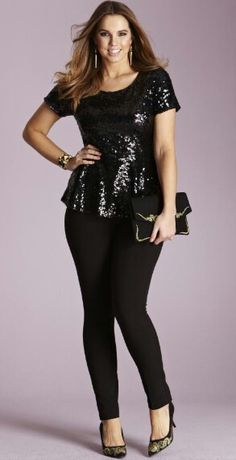Outfit by Simply Be... Need this sequin peplum top for the holidays