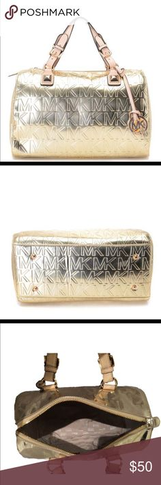 🌸🌸Michael-Kors Mirror Metallic Gold-Logo Satchel 🌸MICHEAL KORS -Metallic-Pale-Gold-Logo-Satchel RE-POSHING. Did not use. Excellent condition inside and out. Includes MK hang tag. Mirrored logo. Inside strap latch to keep track of keys. Nice and large. Perfect  for the fashionista on the go. Selling for 1/2  i paid. Excellent. Authentic. Bargain Michael Kors Bags Satchels
