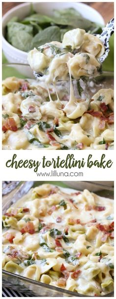 Easy Cheesy Tortellini Bake - simple and delicious too! Tortellini, bacon, cheese, basil, & spinach with a yummy sauce & seasonings!