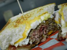 AA Breakfast burger! The original patty topped with bacon, a fried egg and cheese.. hello breakfast :)