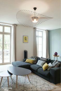 a sleek decor and a Scandinavian look in shades of gray green water and light oak. A beautiful living room very functional and old … - Decoration For Home Home Interior, Home Living Room, Interior Design Living Room, Living Room Decor, Dining Room, Living Room Inspiration, Home Decor Inspiration, Beautiful Living Rooms, Trendy Home