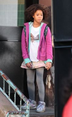 Quvenzhane Wallis in Stars On The Set Of 'Annie'