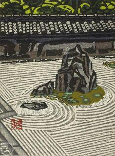 "Japanese Art Print ""Garden in Ryuanji"" by Hashimoto Okiie, woodblock print reproduction, asian art, cultural art, Zen Pintura Zen, Japanese Art Prints, Japanese Calligraphy, Zen Art, Fantasy Landscape, Elements Of Art, Linocut Prints, Woodblock Print, Asian Art"