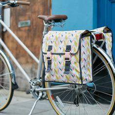 Basil Triangle Double Bike Pannier | Geometric pastel patternCyclechic | Cyclechic