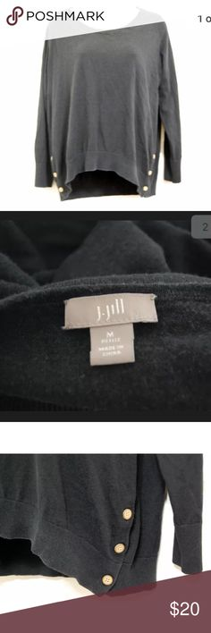 "J. Jill black scoop neck pullover sweater J. Jill Sweater  Color: Black Sleeve: Long Sleeve  Embellishment: Decorative side Buttons Size: Petite M 52% Silk, 35% Polyester, 13% Cotton Hand Wash Gently used condition. No stains or tears. Has some minor pilling.  Length- 23.5""  Underarm to underarm doubled, laid flat-38""  Sleeve Length-20"" J. Jill Sweaters Crew & Scoop Necks"