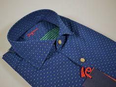 94ac2fc66ee5fc Collection Abbigliamento Uomo · Shirts · Camicia ingram slim fit blu con  disegno piccolo verde