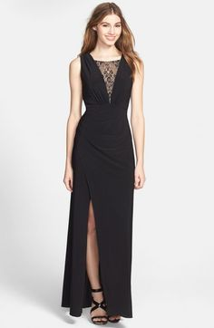 Adrianna Papell Hailey Lace Inset Draped Jersey Gown | Dress, Frock and Clothing