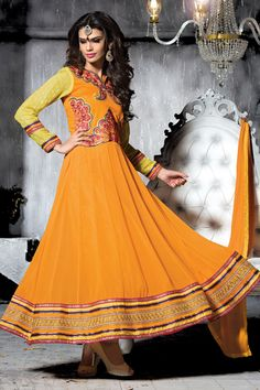 Orange Color Long Lenght Designer Party Wear Salwar Kameez Set From Skysarees.