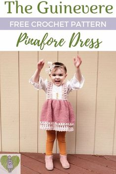 The Guinevere Pinafore Dress Crochet Pattern | The Yarn that Binds Us Finger Crochet, Quick Crochet, Free Crochet, Chunky Knitting Patterns, Crochet Blanket Patterns, Crochet Stitches, Newborn Crochet, Crochet Baby Booties, Pinafore Dress Pattern