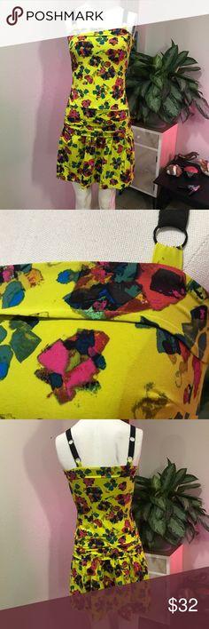 RACHEL ROY SZ 0 or XS FLORAL DRESS CUTE YELLOW Cute yellow dress Rachel Roy Dresses