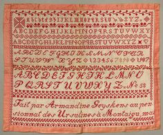 Antique French Ursuline Convent Redwork Embroidery Sampler Amandine Geyskens…