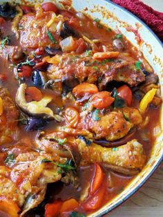 Chicken Cacciatore--the best I've had. DO NOT use boneless, skinless anything or eliminate any of the ingredients. The depth of flavor was fabulous! Great Recipe!