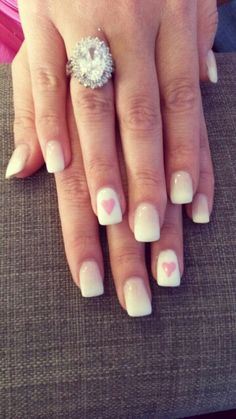 Ombre acrylic with pink hearts