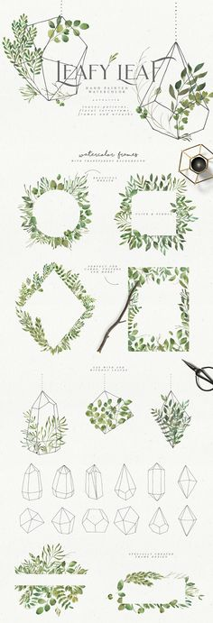 This terrarium contains all the shades of green forest foliage. Just add ready-made graphics: patterns, frames and wreaths. But also a big variety of individual elements: flowers, florals and terrariums. Be sure to click on the image to see all elements