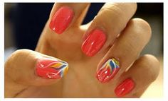 LOVE these coral with design nails!!