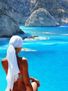Overlooking the amazing waters of Lefkada island, Greece