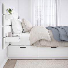 NORDLI bed frame with headboard and shelf - white - IKEA Austria White Headboard, Wood Headboard, White Bedding, Bed With Headboard, Bedding Sets, Queen Bedding, Queen Bedroom, Master Bedroom, Bed Frame With Storage