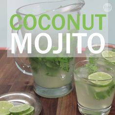 Mojito Channel your favorite tropical location from home with this delicious and easy Coconut Mojito cocktail.Channel your favorite tropical location from home with this delicious and easy Coconut Mojito cocktail. Party Drinks, Fun Drinks, Healthy Drinks, Alcoholic Drinks, Craft Cocktails, Mixed Drinks, Beverages, Smoothie Drinks, Smoothie Recipes
