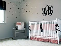 Coral and Gold Nursery with fun confetti decals - such a touch of whimsy to this sweet baby room! Coral Gold Nursery, Nursery Neutral, Nursery Room, Baby Room, Nursery Ideas, Room Ideas, Coral And Gold, Rubber Flooring, Project Nursery