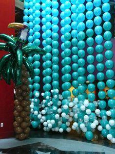 Balloons by Balancia: Tropical Paradise Fundraiser Photo: toucan in palm tree beside walk thru waterfall. Balloon Ceiling, Balloon Backdrop, Balloon Decorations Party, Balloon Columns, Party Decoration, Balloon Wall, Balloon Garland, Birthday Decorations, Love Balloon
