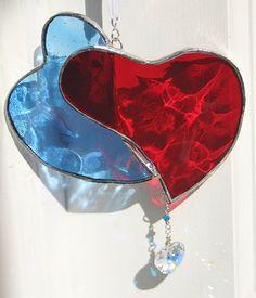 Stained Glass Heart Suncatcher $19.00 #suncatcher #hearts #red #blue #glass @Kelly Teske Goldsworthy Teske Goldsworthy