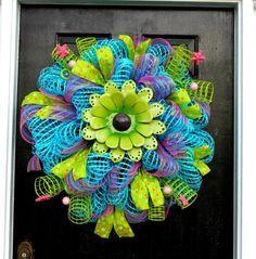 How To Make Mesh Wreaths | Metal Flower Spring Mesh Wreath/Turquoise by WreathsandThingsLK