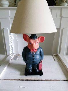 PopArt 2 Tischlampen  Unikate Schweine als Bänker