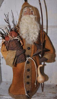 Primitive Folk Art Soft Sculplture, OOAK Santa Doll...Harvest Blessings Santa.  via Etsy.