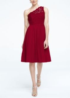 Red Bridesmaid Short One Shoulder Contrast Corded Dress Style F15711 at Davids Bridal $149+