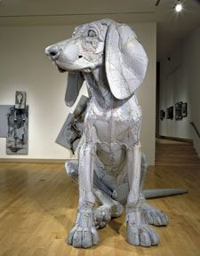 Scott Fife's Coon Hound Puppy - Leroy - sculpture weighs about 500 pounds and is constructed as one solid piece from cardboard held together with glue and screws...