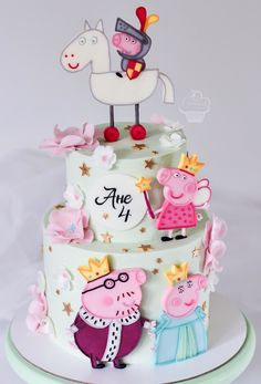 Cake Cake Decorating Techniques, Cake Decorating Tutorials, Buttercream Cake, Fondant Cakes, Cupcake Cakes, Pig Birthday Cakes, Dora Cake, Peppa Pig, Animal Cakes