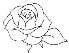 COMO DESENHAR UMA ROSA SIMPLES - PASSO A PASSO - Desenhar Bonito Rose Outline Drawing, Rose Drawing Simple, Outline Drawings, Beautiful Flower Drawings, Flower Line Drawings, Rose Stencil, Rosen Tattoos, Witch Drawing, Floral Embroidery Patterns