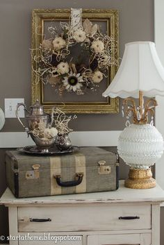 Fall Decorating with burlap and white pumpkins | Start at Home Decor