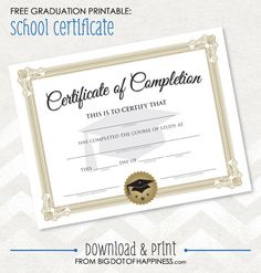 Fill-In Printable Diploma for Kindergarden, Pre School or Any Other Education Graduation 5th Grade Graduation, Graduation Theme, Kindergarten Graduation, Graduation Centerpiece, Graduation Certificate Template, Certificate Design, Certificate Templates, Free Printable Certificates, Free Printables