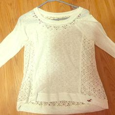 Holister shirt White hollister shirt open in the back with lace Hollister Tops Blouses